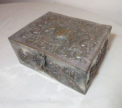 antique ornate hand tooled silverplate coat of arms copper cigar relief box