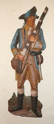 vintage hand carved painted wood revolutionary war military wall sculpture