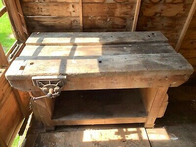 Old School Wood Work Bench/Retro Table COLLECTION ONLY