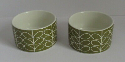 Orla Kiely Round Ramekins x 2 - Olive Green - Linear Stem - Please Read.