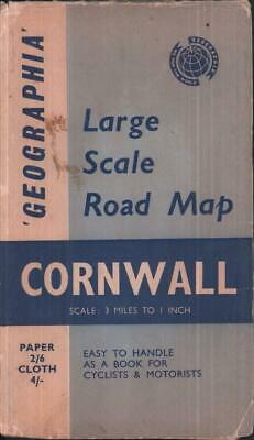 1950s Geographia Large Scale road map Cornwall 3 miles to 1 inch