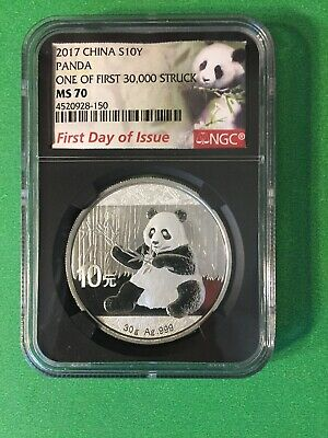 2017 China 10Y Silver Panda NGC MS70 First Day Of Issue Black Label.