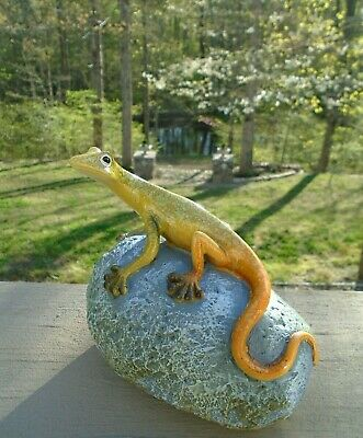 Glossy Green & Orange Gecko Lizard On A Rock Resin Garden Sculpture