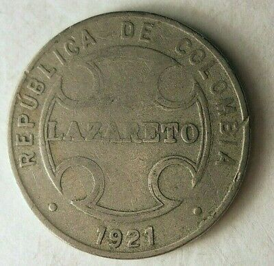 LEPER COLONY COLOMBIA LEPROSARIUM 2 CENTAVOS 1921 RARE OLD COIN