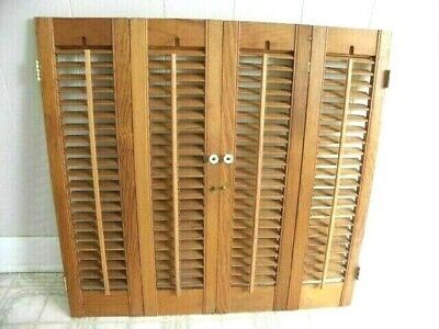 """Vintage Colonial Wood Indoor Louvered Plantation Shutters 28 3/4"""" wide by 27 1/4"""
