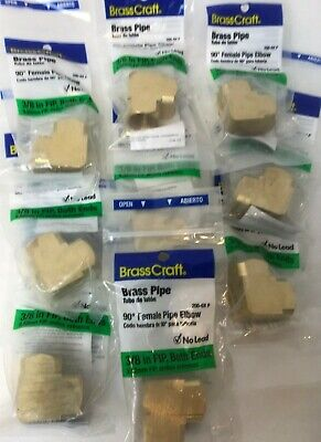 "NEW 9pcs Brass 90 Degree Pipe Elbow 2x Female FIP 3/8"" Pipe Fittings Adapters"