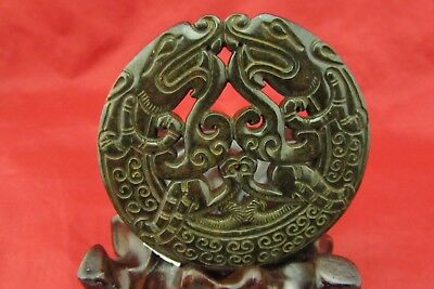 Chinese old hand-carved black jade dragon jade pendant abstract art C177