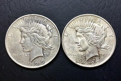 Lot of 2 1922 & 1923 $1 Peace SILVER Dollars