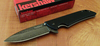 Kershaw 1760Dam Skyline Damascus Steel Folding Flipper Knife G-10 Handle New # 1
