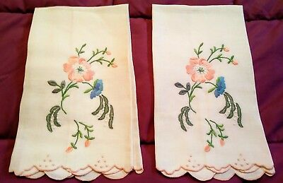 "2 Exquisite White Linen Madeira Embroidered Hand Towels 21"" by 12 1/2"""