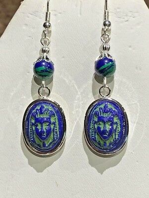 Antique Max Neiger  Egyptian Czech Glass Pharaoh Azurite-Malachite Earrings.925
