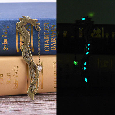 Retro Glow In The Dark Leaf Feaher Book Mark With Dragon Luminous Bookmark@SP