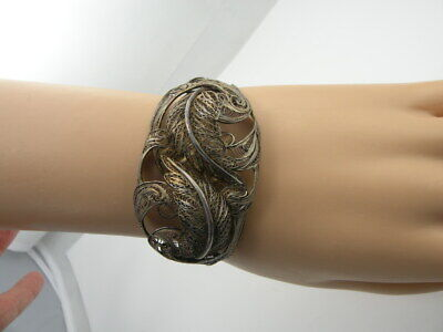 Sterling Silver Vintage Antique Filigree Designed Cuff Bracelet Buckle Clasp