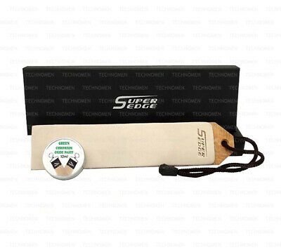 Knife Cut Throat Razor Sharpening Leather Paddle Strop Chromium Oxide Balm Paste