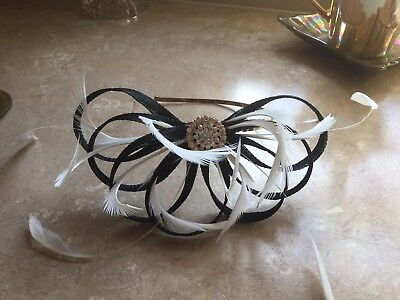Black And Ivory Fascinator With Diamante And Feathers B/New