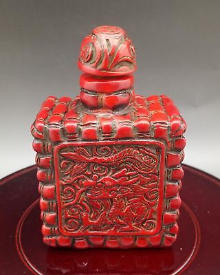 Chinese Exquisite Red Coral Hand Carved Dragon pattern Snuff Bottle  Q541
