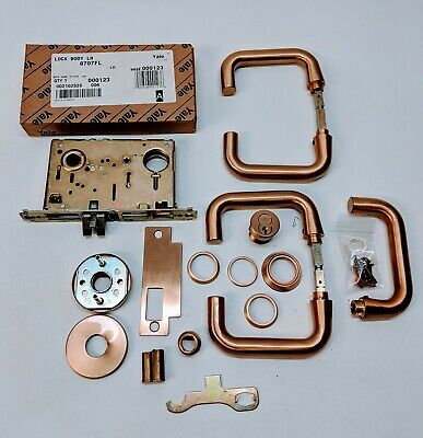 Vintage YALE Lot Mortise Lock Brushed Copper Bronze Latches Extras!
