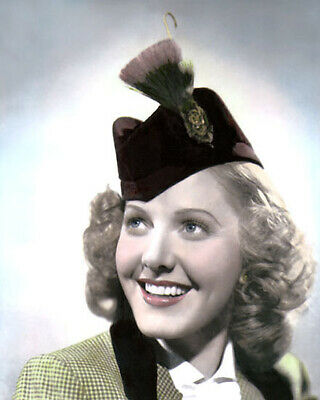 "JEAN ARTHUR HOLLYWOOD MOVIE STAR ACTRESS 8x10"" HAND COLOR TINTED PHOTOGRAPH"