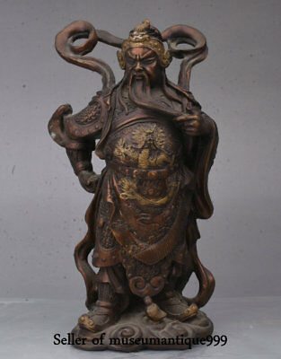 "10"" Ancient China Bronze Gilt Dynasty Dragon Guangong Guanyu Warrior God Statue"