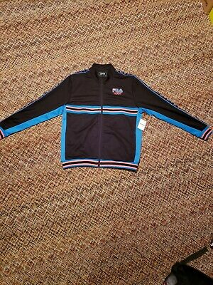 330f40bd9d3a FILA MENS XL Jacket Brown Gold UO Monogram Zip Up Track Tennis ...
