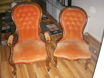 Victorian matching Grandfather and Grandmother Chairs - Walnut circa 1800s