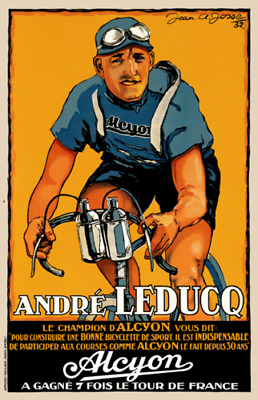 Alcyon Andre Leducq Vintage Bicycle Poster Print Art Advertisement - Cycling