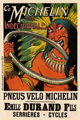 Pneus Velo Michelin Vintage Bicycle Poster Print Art Advertisement - Cycling