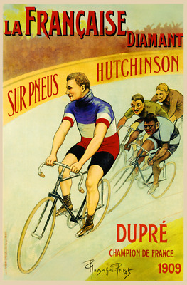 LA FRANCAISE DIAMANT FRENCH CYCLE ADVERT METAL SIGN RETRO STYLE12x16in 30X40cm