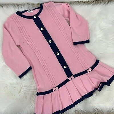 84524a5e03 Florence Eiseman Girls 5 Pink Navy Blue Sweater Dress Bows Pleated Long  Sleeve