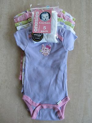 NEW! GERBER(R) Brand Variety 5 PK Infant Baby Girl 3-6M One-Pc Snap-T Bodysuits