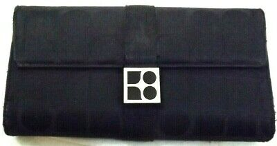 e5be7d87ea 2000s KATE SPADE Wallet TRIFOLD CLUTCH CHECKBOOK BLACK LEATHER FABRIC  vintage
