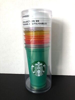 Starbucks 2018 Reusable Cup Collection 16 oz Limited Edition 6 Cups / 6 Lids