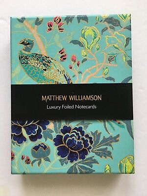 NEW Mathew Williamson BOXED SET of 16 LUXURY GOLD FOILED NOTECARDS Floral