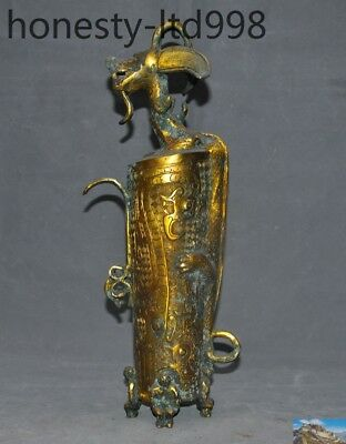 Old Chinese Bronze gilt ceremony Sacrifice people sheep head beast dragon statue