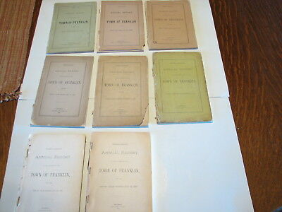 54 Annual Town Reports Franklin Massachusetts MA 1888 history genealogy Norfolk