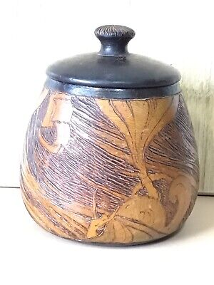 Antique Pokerwork Tobacco Jar Decorated With Ships And Mermaids