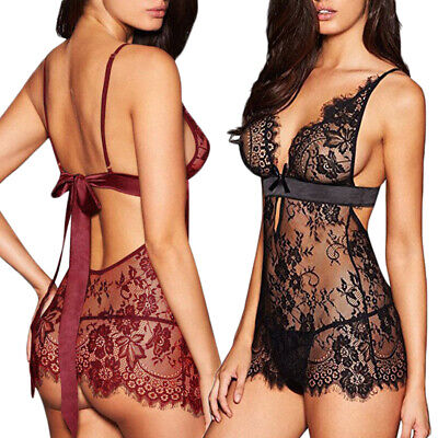 Women Sexy-Lingerie Nightwear Underwear Babydoll Sleepwear Lace G-string Set