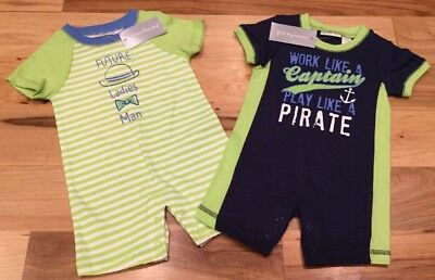 First Impressions Boys 0-3 Months Set Of 2 Rompers. Green & Blue Rompers. Nwt