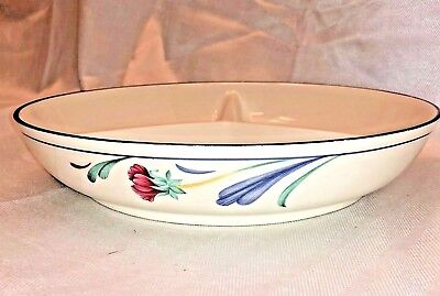 "LENOX Chinastone POPPIES ON BLUE10.25"" Round Divided Vegetable Bowl serving dish"
