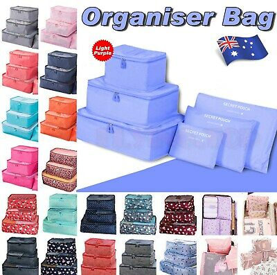 6X Packing Cubes Travel Pouches Luggage Organiser Clothes Storage Bag New Color