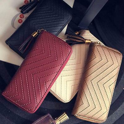Women's Tassel Long Wallet Clutch Zipper Purse Handbag Card Holder Bag TO