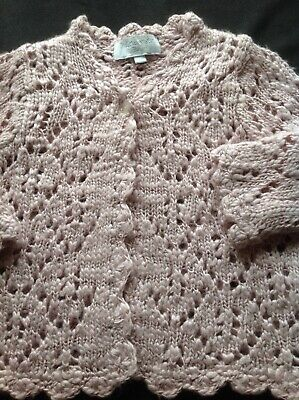 Baby girl knitted cardigan crotchet jumper wool long sleeve size 1