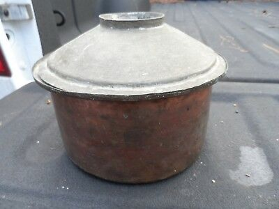"Small Size 8"" Antique Copper Cooking Pot With Lid Great Cottage Farmhouse Decor"