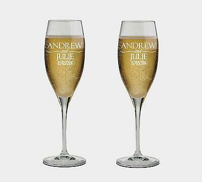 Couple Name Personalized set of 2 Champagne Glass,Toasting Flutes, wedding Gift