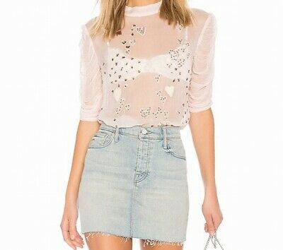 552d014fbc3 Free People NEW Pink Womens Size Medium M Sequin Heart Sheer Blouse $125 101