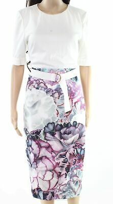 Ted Baker NEW White Ivory Womens Size 8 Floral Print Sheath Dress $315- 743
