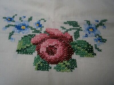 Vintage Pure Linen Supper Tablecloth - Roses Cross Stitch & Crochet Edging