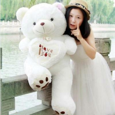 39'' Huge Big white Teddy bear heart soft plush stuffed  toy doll kids Xmas gift