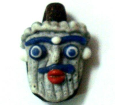 Ancient Phoenician Beard Red mouth Head Face Mosaic Glass Bead Pendant 24