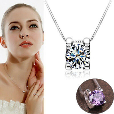 Silver Plated Necklace Elegent Rhinestone Pendant Box Chain Jewelry Clavicle